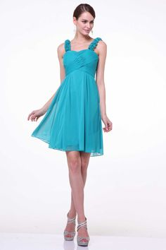 Bridesmaid Short Dress CD3801 Short A-Line Bridesmaid Dress with Flowers Embellished Straps and Fully Gathered Bust featuring Wrap Detail, Empire Waist, Flowing Skirt. https://www.smcfashion.com/wholesale-bridesmaid-dresses/bridesmaid-dress-cd3801