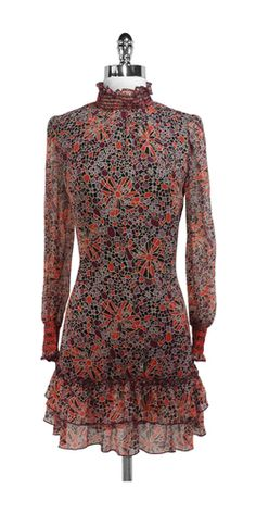 Anna Sui Floral Dress, Anna Sui long sleeve burgundy dress