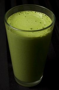 Healthy green coconut smoothie (with coconut oil).