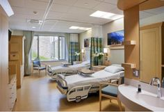 Healthcare Hospital Spacious patient rooms feature natural light, built-in personal storage, and a refined color palette offering quiet and tranquility. #healthcare, #hospital, #health