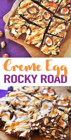 Super Easy, No Bake, Utterly Delicious Creme Egg Rocky Road Recipe. Extraordinary For Bake Sales And Making With Kids, The Best Easter Chocolate Treat This No Fail Chocolate Dessert Recipe Is A Must Make For Easter. Via Tamingtwins Easter Chocolate, Chocolate Treats, Easy Desserts, Dessert Recipes, Desserts Ostern, No Bake Treats, Easter Recipes, Tray Bakes, Chocolate Desserts