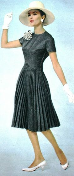 Magdorable!: Burda Moden Spring/Summer 1963 fashion style vintage dress black accordion pleats day casual 60s color photo print ad model magazine full skirt short sleeves round collar...