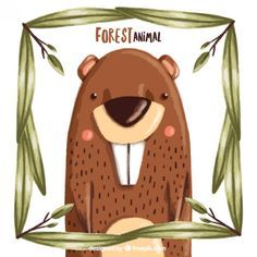 Hand painted enjoyable beaver with a leaves frame Free Vector