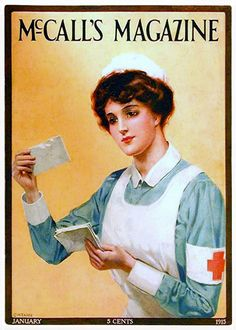 McCall's Magazine Cover - January 1915 | vintage Red Cross nurse