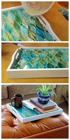 Make an old tray into a gorgeous decorative mosaic tray using just about ANYTHING as the mosaic! {Reality Daydream} Make an old tray into a gorgeous decorative mosaic tray using just about ANYTHING as the mosaic! Mosaic Crafts, Mosaic Projects, Diy Projects, Mosaic Tray, Mosaic Glass, Stained Glass, Mosaic Mirrors, Mosaic Wall, Mosaic Table Tops