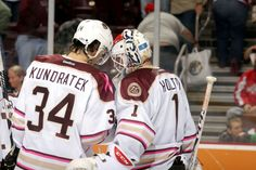 11.25.12 - BEARS vs. Toronto - Post game victory shot with Kundratek and Holtby.  Photo courtesy of JustSports Photography