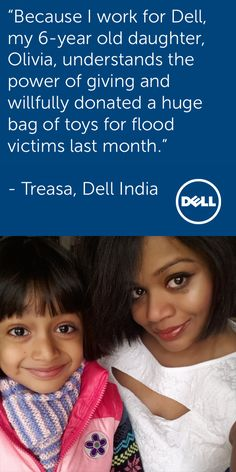 Parents lead by example, even at work. Meet Treasa from Dell India. Her excitement about leading community initiatives at Dell are rubbing off on her daughter, Olivia. More on Treasa's story: http://www.dell.com/learn/in/en/incorp1/careers/careers-testimonial-treasa