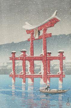 Snow on Miyajima, Hasui Kawase (Japan, Japan, Prints, Color woodblock print. Japanese Art Prints, Japanese Artwork, Japanese Painting, Japon Illustration, Japanese Illustration, Toledo Museum Of Art, Art Museum, Art Occidental, Hokusai