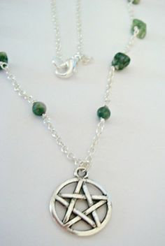 Necklace handmade by me.  Tree agate and silver plated
