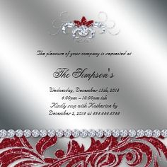 red and silver christmas theme invitations