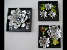 Here's another DOLLAR TREE DIY wall art Using cardboard and silver plastic trays from the DOLLAR TREE that looks like mirrors, can make . Aluminum Foil Crafts, Aluminum Cans, Metal Crafts, Soda Can Crafts, Diy And Crafts, Metal Flowers, Diy Flowers, Soda Can Flowers, Flower Drawing Tutorials