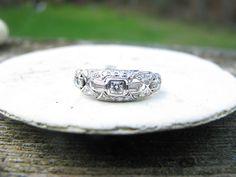 Exquisite Art Deco Platinum Diamond Ring  Incredible by Franziska, $950.00