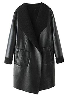 8d44c8a0deb2 Yayu Women's Lamb Wool Lined Faux Leather Jacket Longline Open Front Trench  Coat