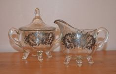 Vintage Footed Cream and Covered Sugar Pair by Farmhouseattic