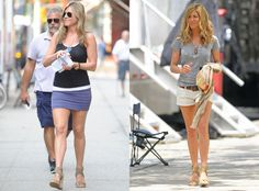 Jennifer Aniston's Favorite Shoes: Star's Been Wearing Same Wedges for 5 Years Jennifer Aniston, Stuart Weitzman Sandals, Celebrity Feet, Denim Skirt, Wedges, Actresses, Stars, How To Wear, 5 Years