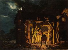 Author: Joseph Wright of Derby Genre Painting, Painting, Oil on canvas, 105x140 cm Origin: Britain, 1773«Iron Forge Viewed from Without