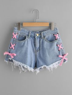 Shop Lace Up Side Frayed Hem Denim Shorts online. SheIn offers Lace Up Side Frayed Hem Denim Shorts & more to fit your fashionable needs.