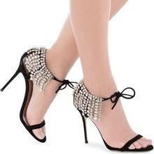 bling bling crystal embellished high heel sandal summer sexy open toe lace-up gladiator sandal rhinestones fringed woman sandal(China (Mainland))