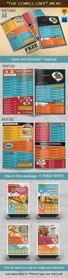 The Comics Cafe Menu || A4 Half folded Template #design Download: http://graphicriver.net/item/the-comics-cafe-menu-a4-half-folded/9214419?ref=ksioks