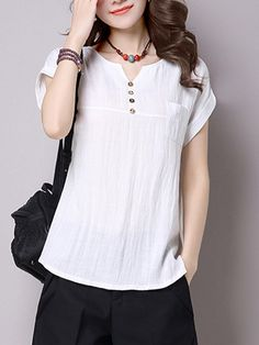 Fashionmia - Fashionmia Split Neck Plain Short Sleeve T-Shirt - AdoreWe.com Kurti Neck Designs, Blouse Designs, Sewing Blouses, Dress Sewing Patterns, Stylish Outfits, Blouses For Women, Fashion Dresses, Tunic Tops, Homographs