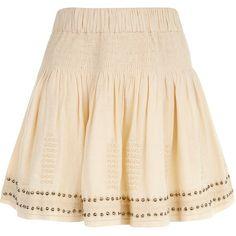 Isabel Marant Étoile Ecru Cotton Alea Skirt (€245) ❤ liked on Polyvore featuring skirts, mini skirts, mini skirt, pink skirt, summer mini skirts, short skirts and elastic waist skirt