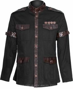 Gothic steampunk jacket by Raven SDL, uniform style clothing design with brass colored hardware.
