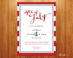 4th of July Party Invitation  5x7 Printable by blushprintables, $15.00
