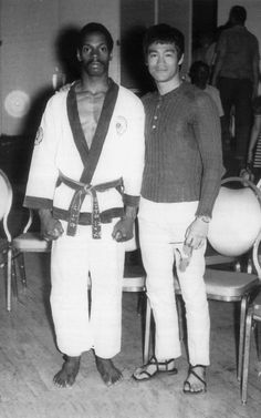 In ths never before published photograph Bruce Lee a close friend and admirer of Joe Hayes congratulates Joe after yet another victorious day for Hayes in competition held in Wash D.C. Circa 1969
