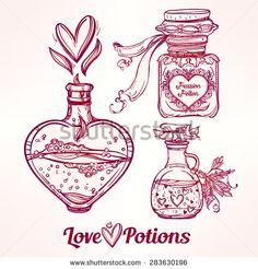 Love potions: hand drawn magic elegant bottles. Beautiful Set. Love and magic collection. Vintage style.  Isolated vector illustration.  Valentine's day concept.