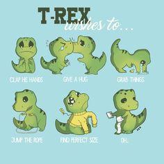 T-rex wishes to… Sheldon The Tiny Dinosaur, The Good Dinosaur, Cute Animal Drawings, Cartoon Drawings, Cute Drawings, Dinosaur Images, Dinosaur Funny, T Rex Tattoo, Elefant Design