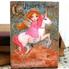 Childrens Art Wooden Art Block Mixed Media Unicorn Art by hrushton, $18.00