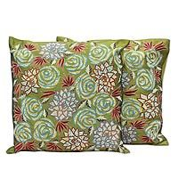 Cushion covers, 'Rose Dazzle' (pair)