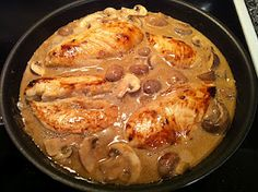 Pan-Seared Chicken with Balsamic Cream Sauce, Mushrooms and Onions    I try a couple of pinterest recipes every week and this is by far the best one yet.  Delish!