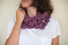 Crochet Neck Warmer , Crochet shawl, Plum Wrap