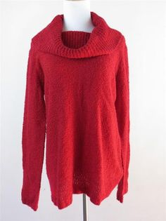 Chicos Sweater Red Cowl Neck Size 2 Long Sleeve Acrylic Wool 12 14 Large Soft | eBay