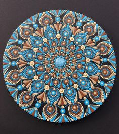 Mandala artwork on rustic wood, original hand painted. Size: 37 x 39 inch x 99 cm). Mandala Artwork, Mandala Canvas, Mandala Dots, Mandala Painting, Mandala Pattern, Mandala Design, Dot Art Painting, Stone Painting, Warm And Cold Colours