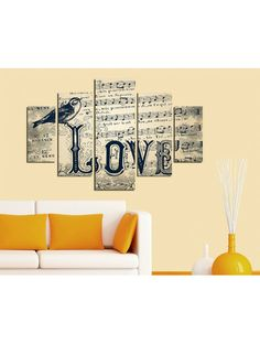 Cream Vintage Love Five Piece Wall Art Cuadros Diy, Music Decor, Vintage Love, Word Art, Typography, Crafty, Black And White, Words, Wall