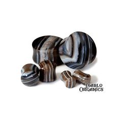 Covet Jewelry Natural Purple Stripe Agate Saddle Stone Plug