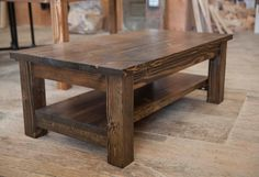 Amazing Farmhouse Coffee Table Design Ideas That You Must Have One in Your Home Wood Table Rustic, Wood Sofa Table, Rustic Kitchen Tables, Solid Wood Table, Rustic Furniture, Office Furniture, Furniture Ideas, Rustic Farmhouse, Kitchen Wood