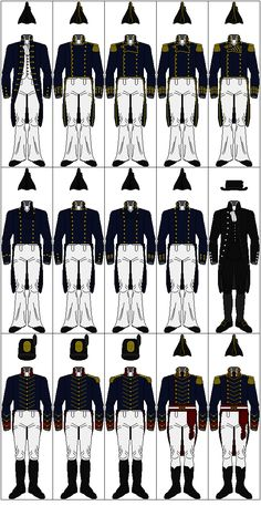 Uniforms of the United States Navy, 1810-1815  from top to bottom, left to right:  Line Officers  - Midshipman  - Lieutenant  - Master Commandant  - Captain  - Captain/Commodore Variation  Staff Officers  - Sailing Master  - Purser  - Surgeon  - Surgeon's Mate  - Chaplain (No Prescribed Uniform; Clerical Attire Shown)  United States Marine Corps  - Private  - Corporal  - Sergeant  - Lieutenant  - Captain