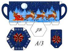 JB printable paper mug with Santa and his reindeer. (I pinned a matching gable box onto my Small Boxes and Bags to Make board. 3d Christmas, Christmas Makes, Paper Tea Cups, Paper Box Template, Santa And His Reindeer, Inexpensive Christmas Gifts, Printable Box, Diy Ribbon, Craft Box