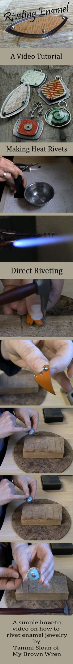 A simple video tutorial on how to safely rivet your enamel jewelry using cold connections and heat rivets