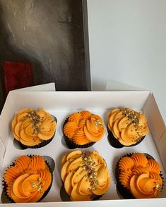 """@erinas_eats on Instagram: """"Saffron Cupcakes, a new flavour that I am absolutely in love with"""" New Flavour, Muffin, Cupcakes, Breakfast, Instagram, Food, Morning Coffee, Cupcake Cakes, Essen"""