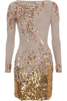 Mathew Williamson sequin georgette embroidered long sleeve dress Please note that there is a mark on the chest to the left and on the inside (see pictures for details). However, this does not affect the overall beauty of the dress.