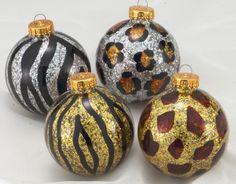 Animal Print Glass Ball Ornament-Set of 4
