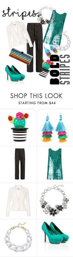 """""""Stripes"""" by nikkol-mcguire-marrero ❤ liked on Polyvore featuring Kate Spade, Balenciaga, P.A.R.O.S.H., Hobbs, Dana Buchman, Kenneth Jay Lane, Sergio Rossi and Edie Parker"""
