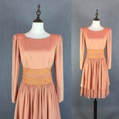 Elegant Vintage Peach Gown / Embroidery Dress / Coral Dress / Cocktail Dress / Ruffle Skirt Dress / Made in Japan / Size Small Medium