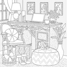 Food Coloring Pages, House Colouring Pages, Coloring Pages For Grown Ups, Adult Coloring Pages, Coloring Books, Printable Coloring Sheets, Black And White Sketches, Embroidery Flowers Pattern, Interior Sketch