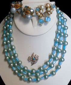 Vintage Faux Pearls Murano Art Glass Briolette Crystals Rhinetones 4 PC BLUE LOT #UnsignedBlueBlueBeauties