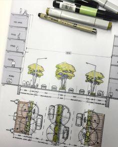 Villa Architecture, Landscape Architecture Drawing, Architecture Graphics, Urban Landscape, Landscape Design, Planer Layout, Design Projects, Sketches, Sketch Drawing